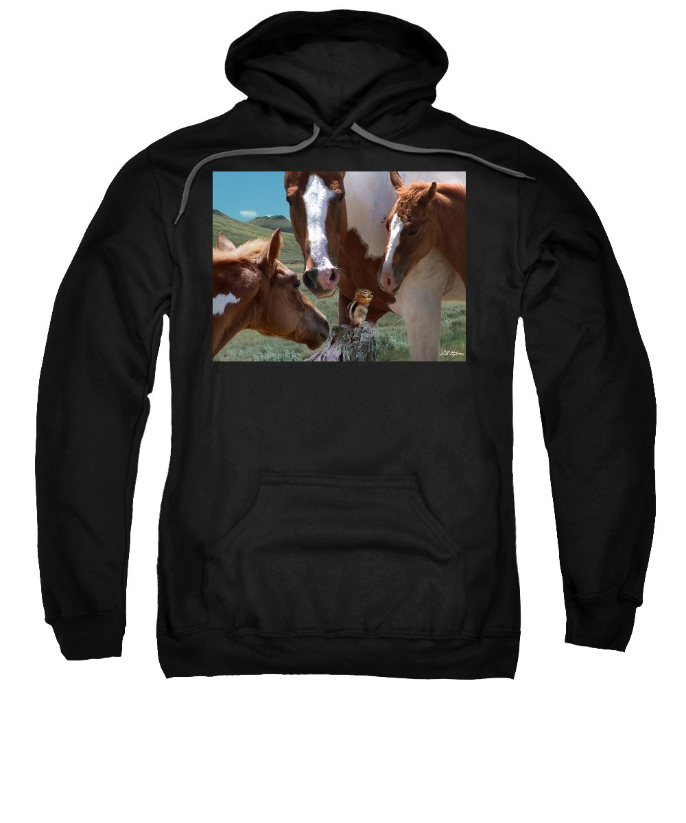 Horses Sweatshirt featuring the mixed media Watizit by Bill Stephens