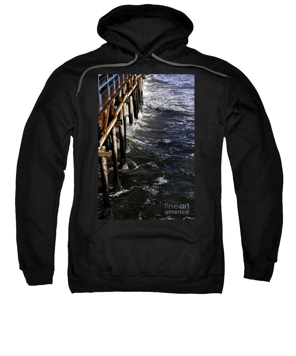Clay Sweatshirt featuring the photograph Waves Hitting Santa Monica Pier by Clayton Bruster