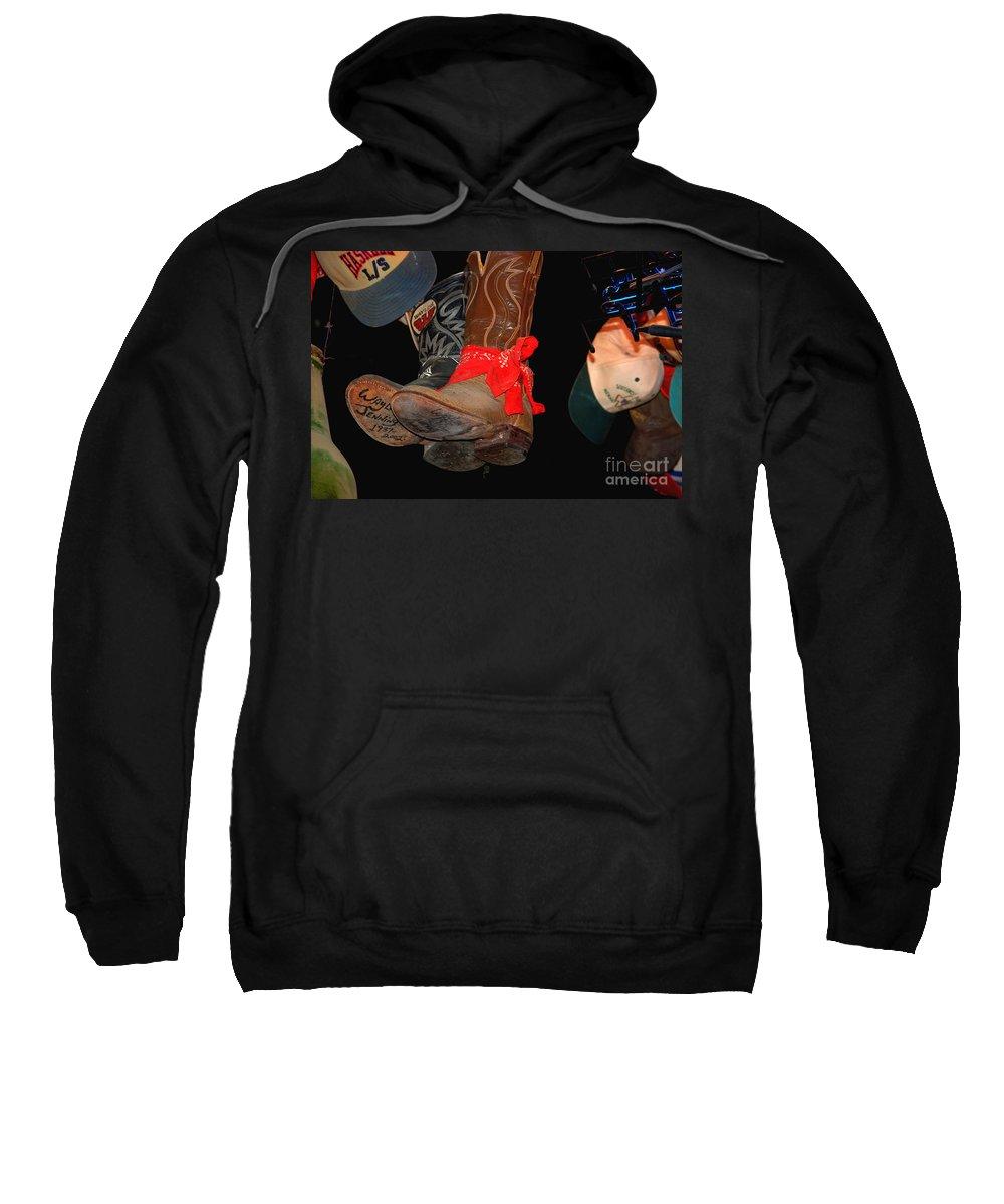Luckenbach Sweatshirt featuring the photograph Waylon Jennings Boots by Susanne Van Hulst