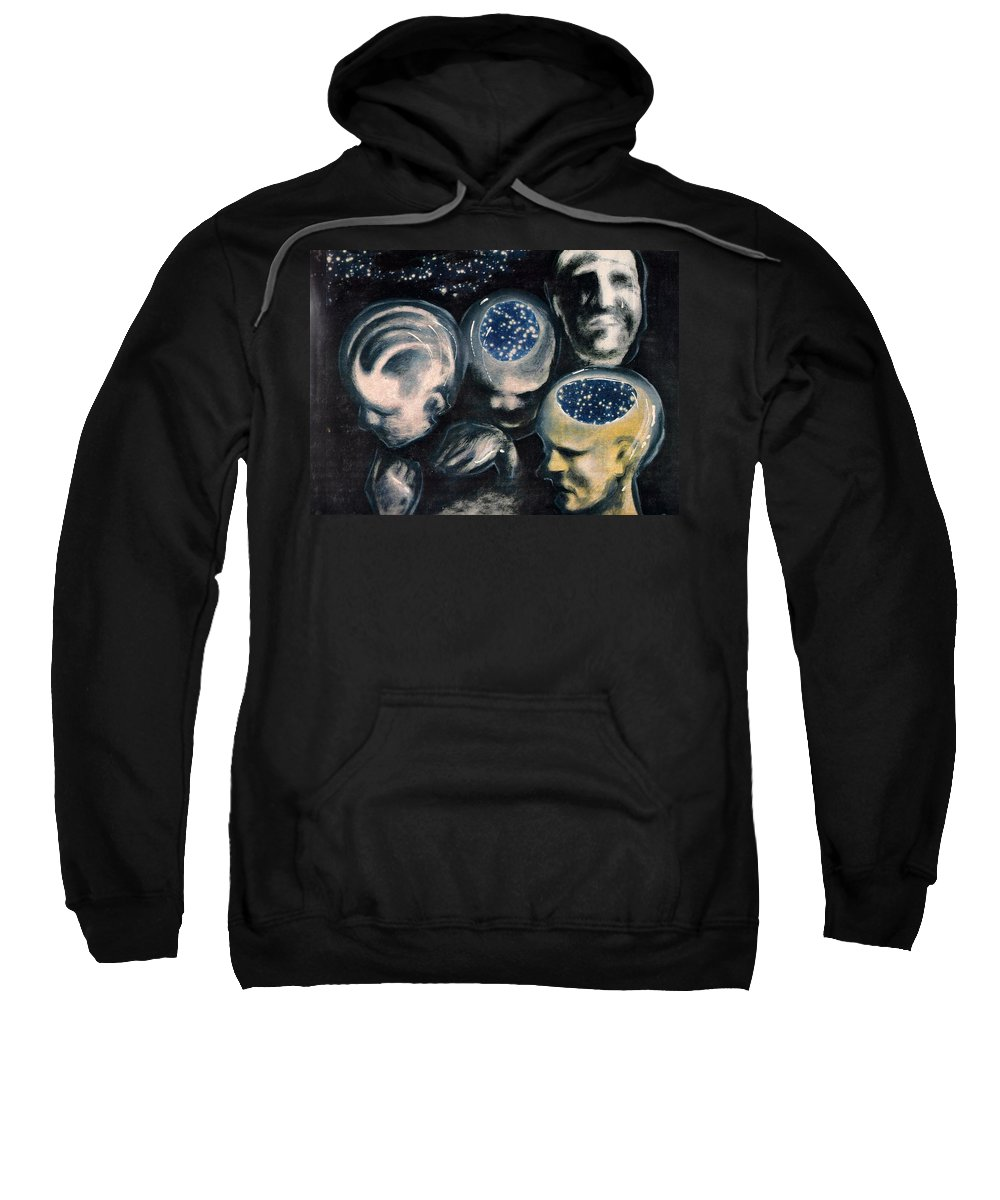 Universe Aura Thoughts Thinking Faces Mistery Sweatshirt featuring the mixed media We Are Universe by Veronica Jackson