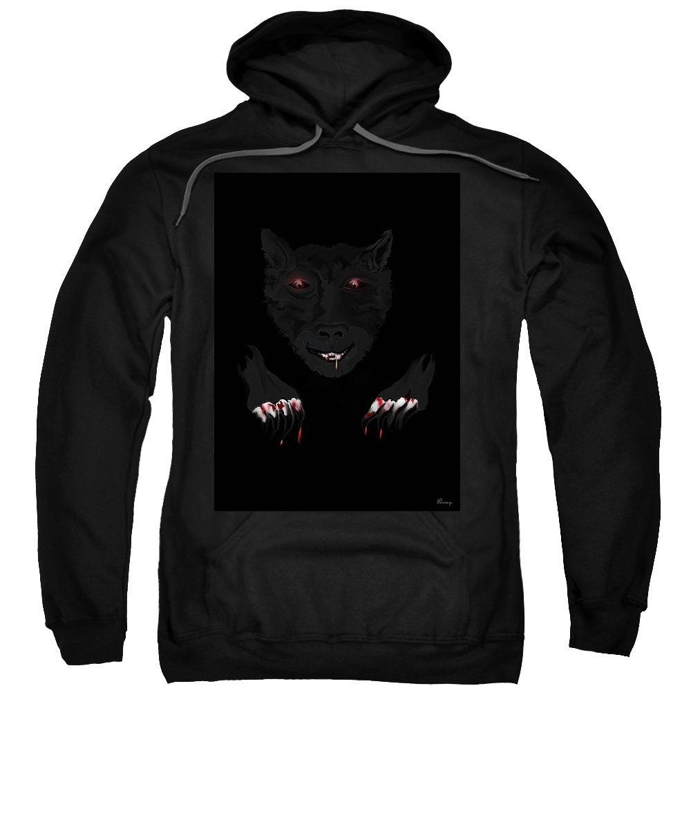 Wearwolf Wolf Scary Blood Eyes Haunting Black Claws Nails Fangs Sweatshirt featuring the digital art Wearwolf by Andrea Lawrence