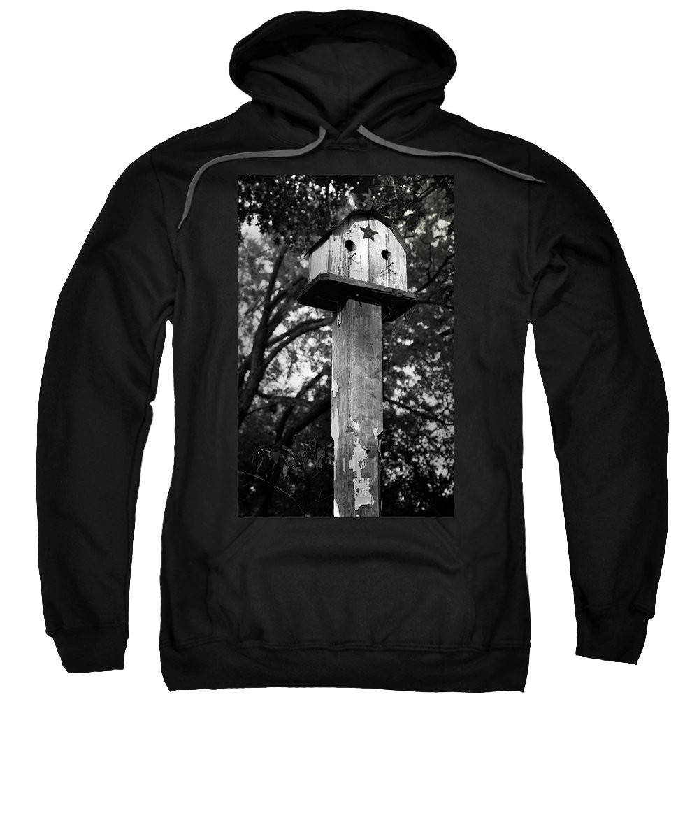 Birdhouse Sweatshirt featuring the photograph Weathered Bird House by Teresa Mucha