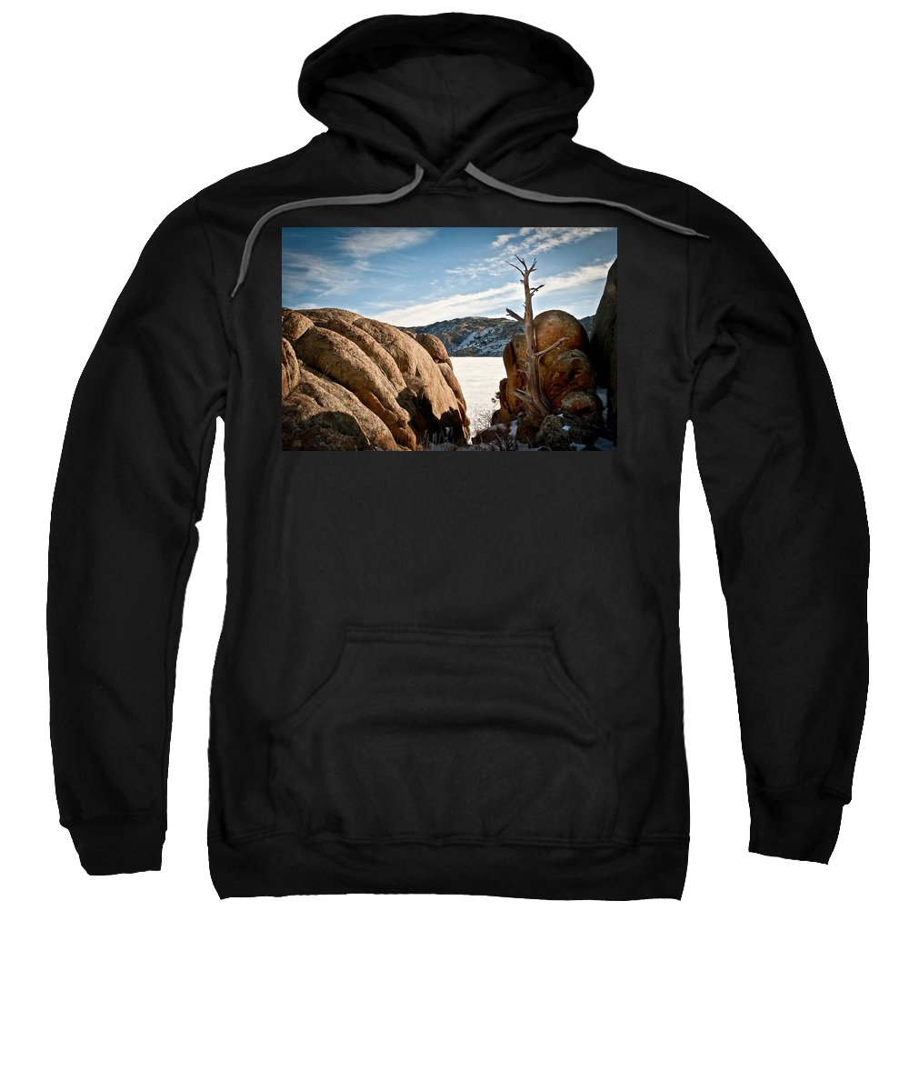 Winter Sweatshirt featuring the photograph Weathered - Pathfinder Reservoir - Wyoming by Diane Mintle