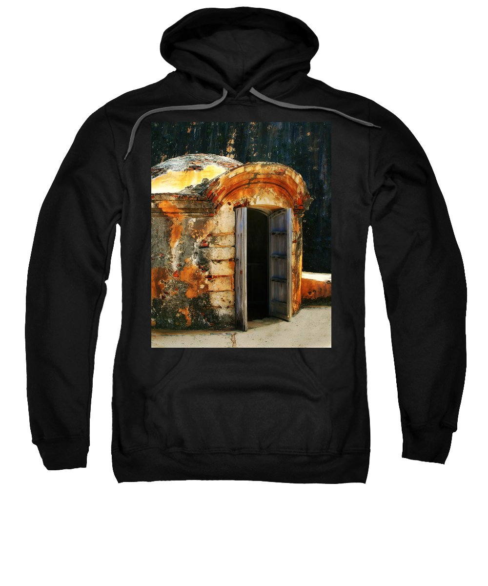 Fort Sweatshirt featuring the photograph Weathered Entry by Perry Webster