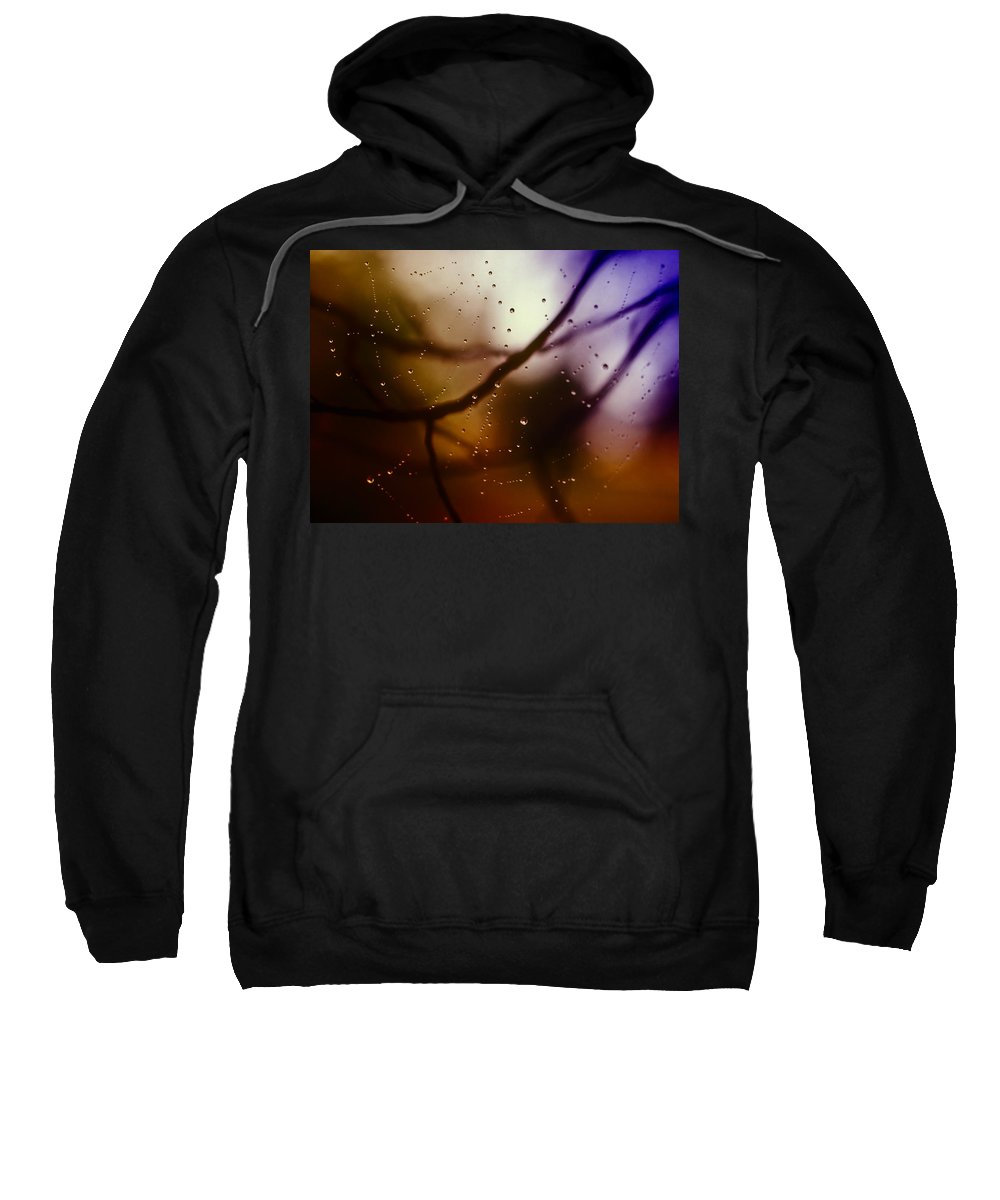 Web Sweatshirt featuring the photograph Web With Droplets by Stephen Anderson