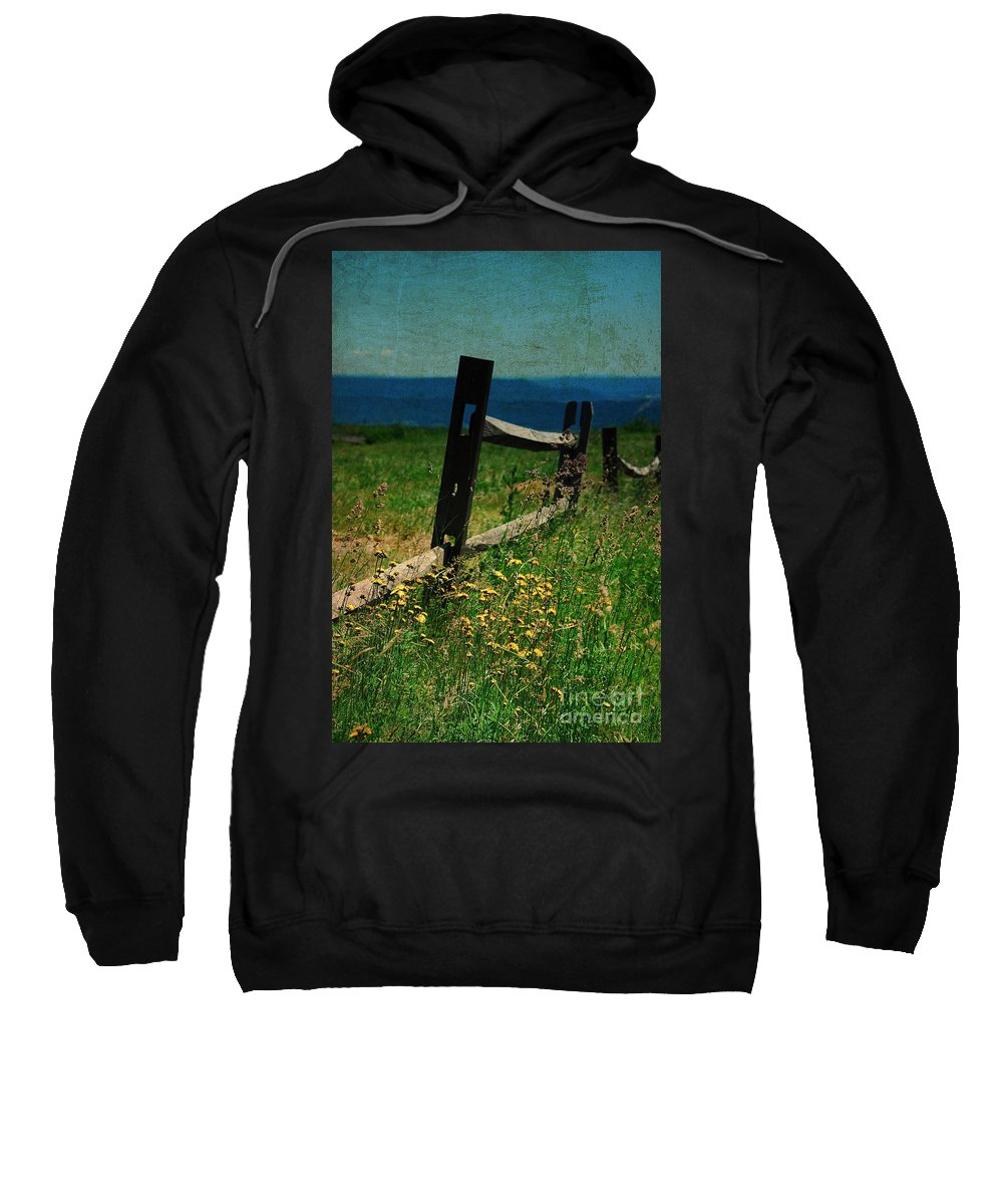 Fence Sweatshirt featuring the photograph Weeds by Lois Bryan