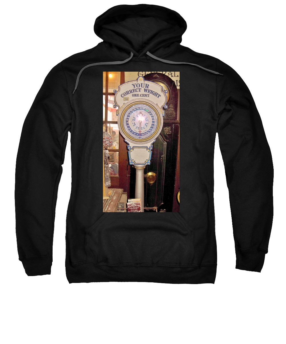 General Stores Sweatshirt featuring the photograph Weight Machine Jefferson Texas General Store by Donna Wilson