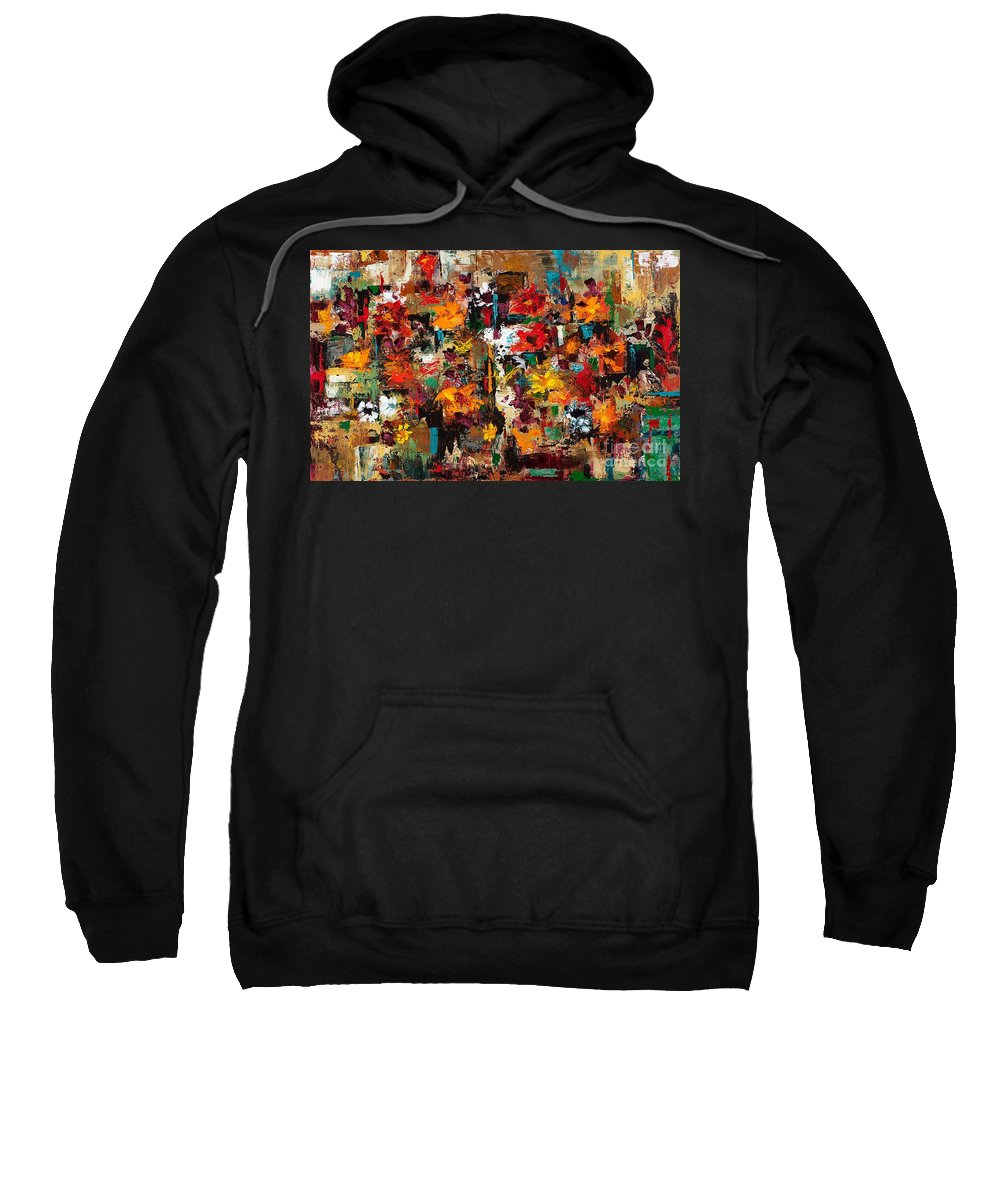 Abstract Flowers Sweatshirt featuring the painting Welcome To My Flower Garden by Frances Marino