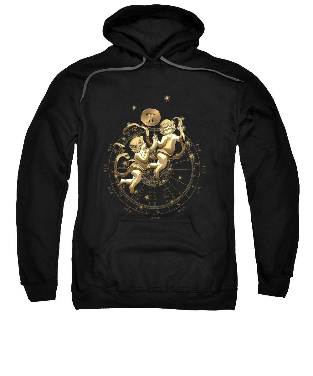 'zodiac' Collection By Serge Averbukh Sweatshirt featuring the digital art Western Zodiac - Golden Gemini - The Twins On Black Canvas by Serge Averbukh