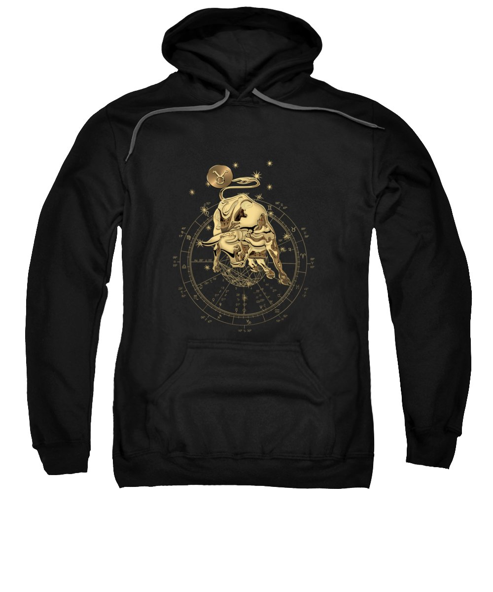 'zodiac' Collection By Serge Averbukh Sweatshirt featuring the digital art Western Zodiac - Golden Taurus - The Bull On Black Canvas by Serge Averbukh