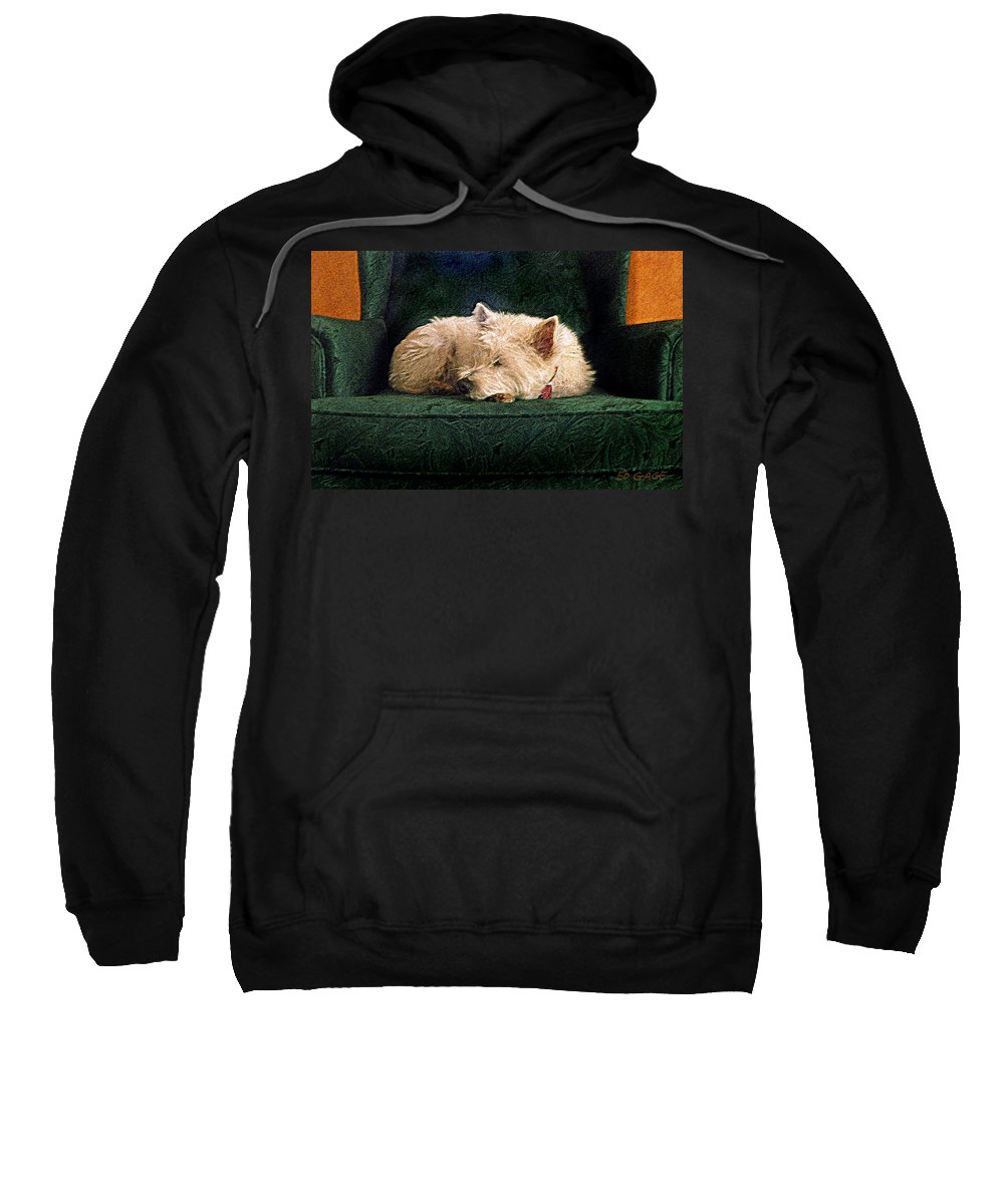 Westie Sweatshirt featuring the photograph Westie Nap by Ed A Gage