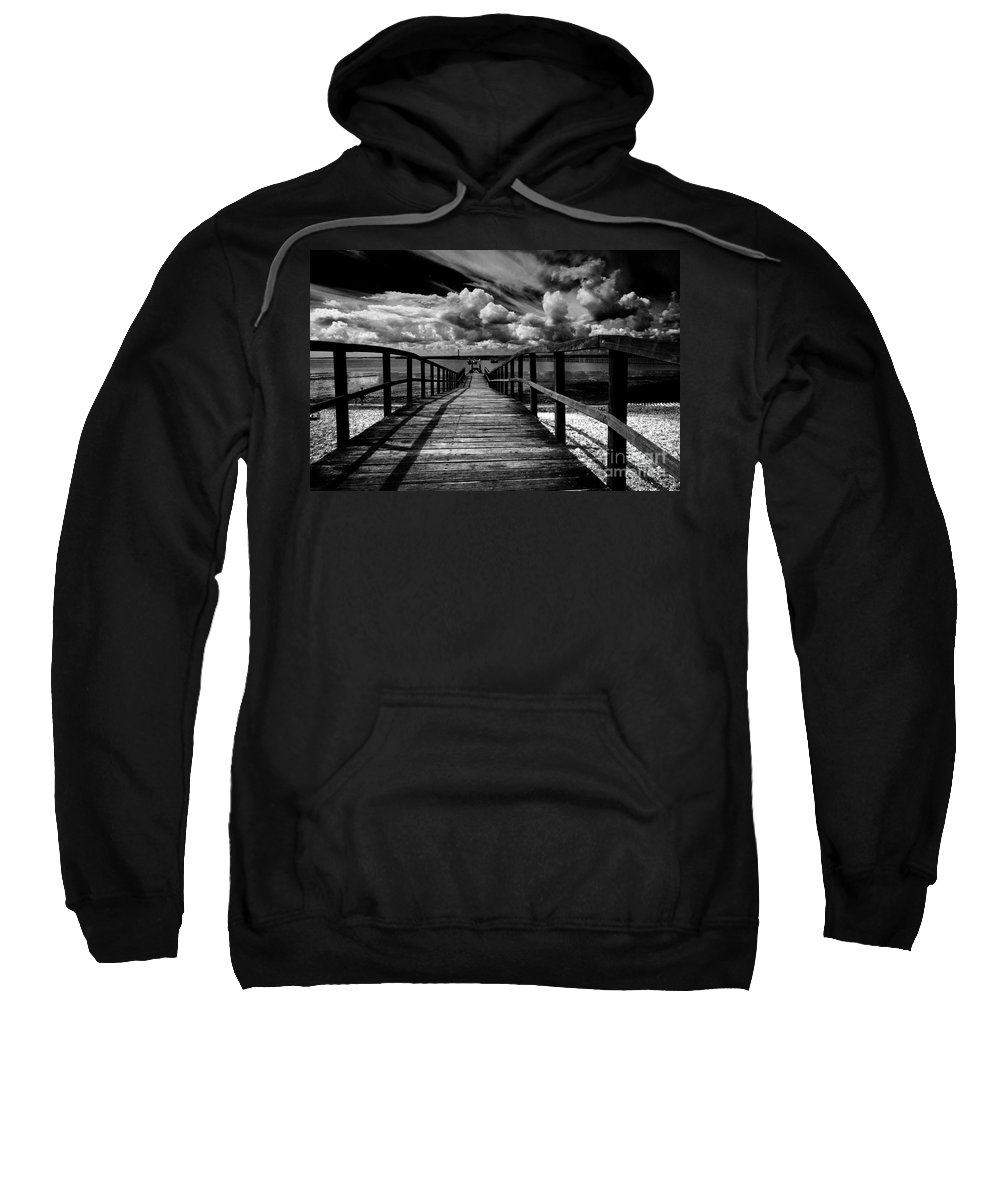 Southend On Sea Wharf Clouds Beach Sand Sweatshirt featuring the photograph Wharf At Southend On Sea by Sheila Smart Fine Art Photography