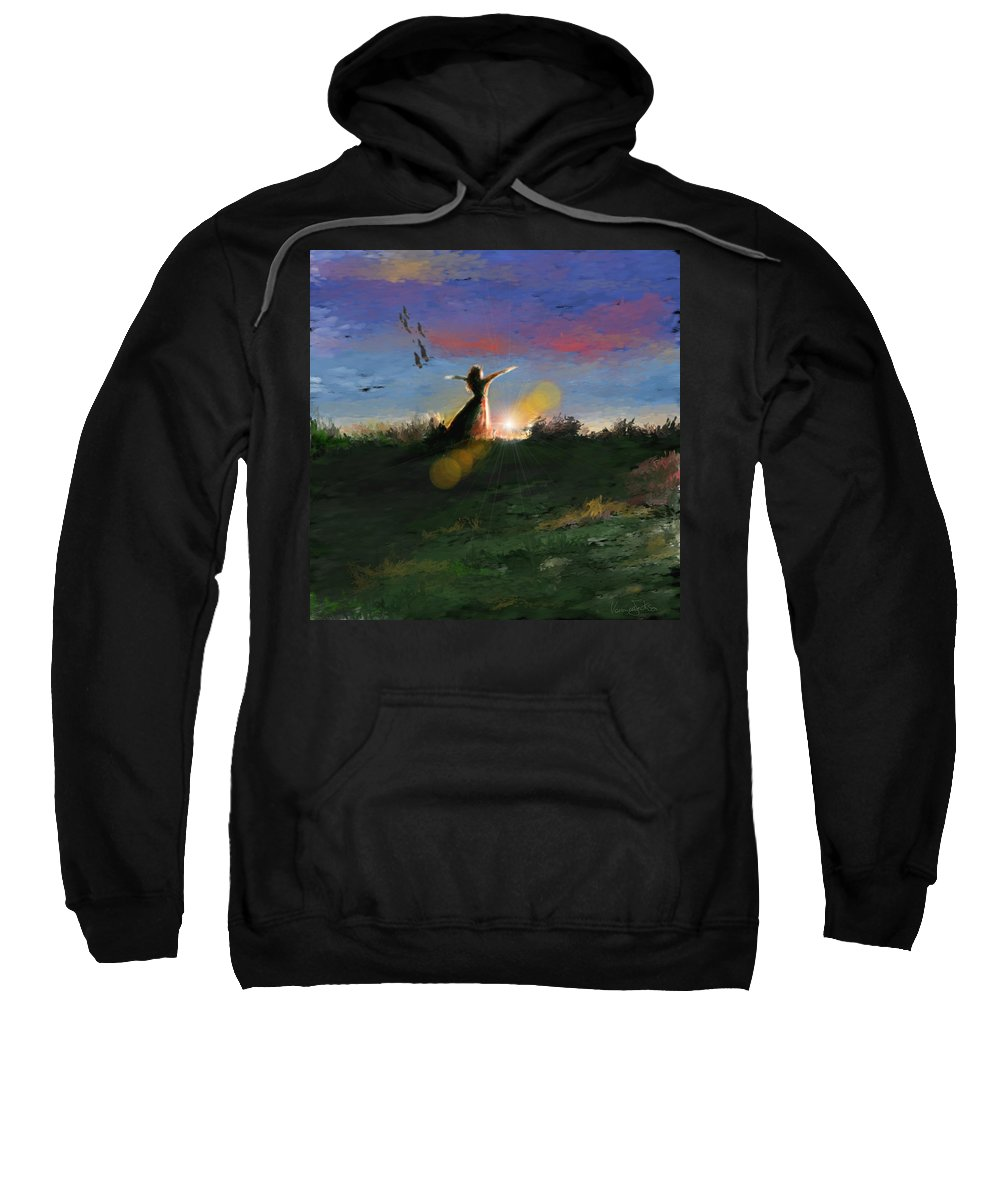 Morning Sunrise Star Woman Nature Sky Clouds Sweatshirt featuring the mixed media What's The Story Morning Glory by Veronica Jackson