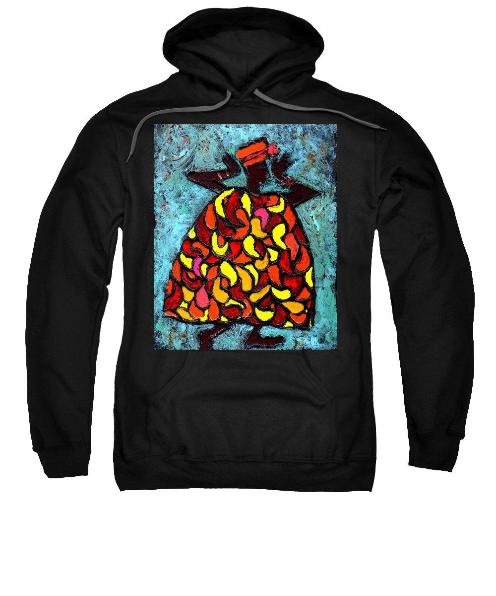 Black Art Sweatshirt featuring the painting When Moma's Happy by Wayne Potrafka