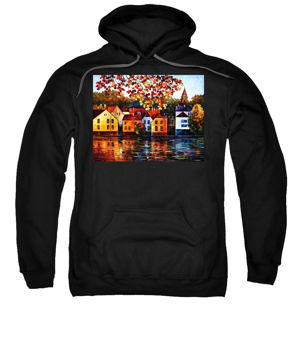 Afremov Sweatshirt featuring the painting Where I Grew Up by Leonid Afremov