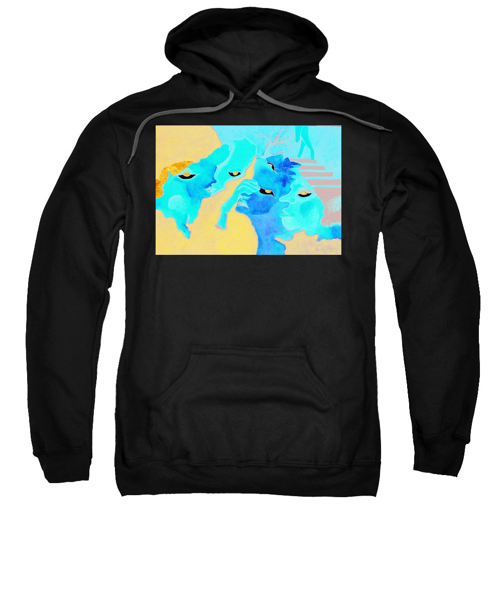 Lost Curious Red Blue People Sweatshirt featuring the painting Where Was I by Veronica Jackson