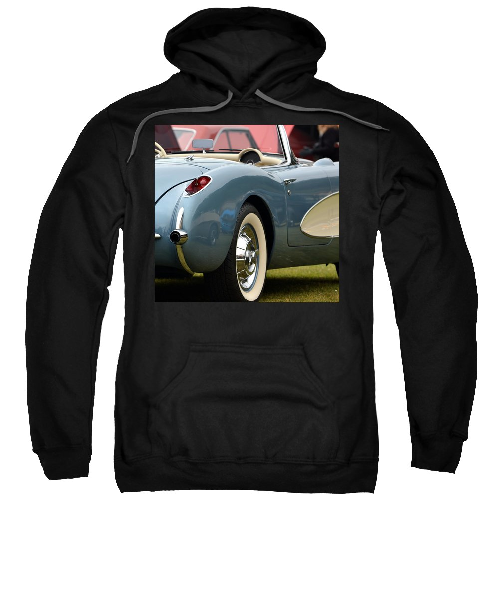 Sweatshirt featuring the photograph White And Light Blue Corvette by Dean Ferreira