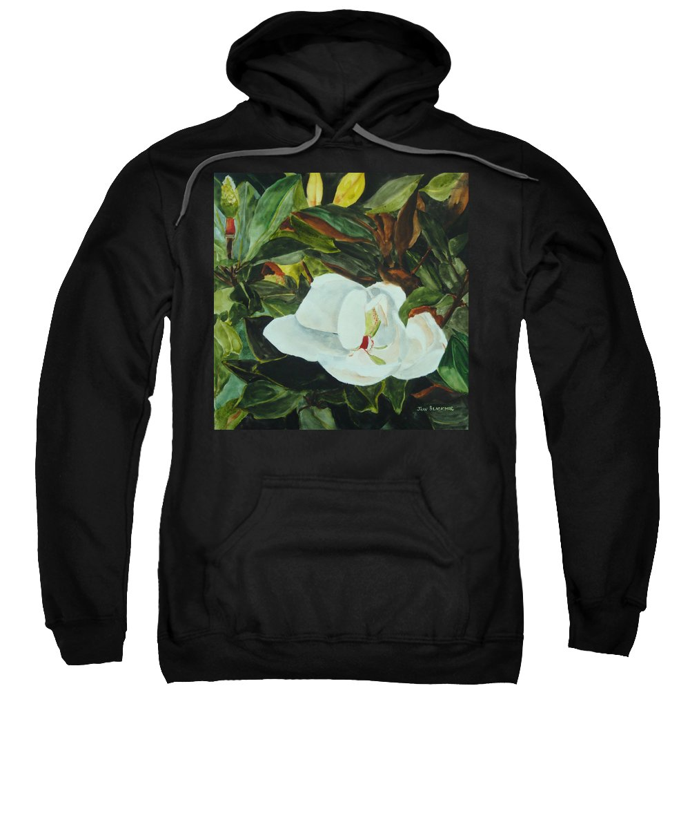 Flower Sweatshirt featuring the painting White Beauty by Jean Blackmer