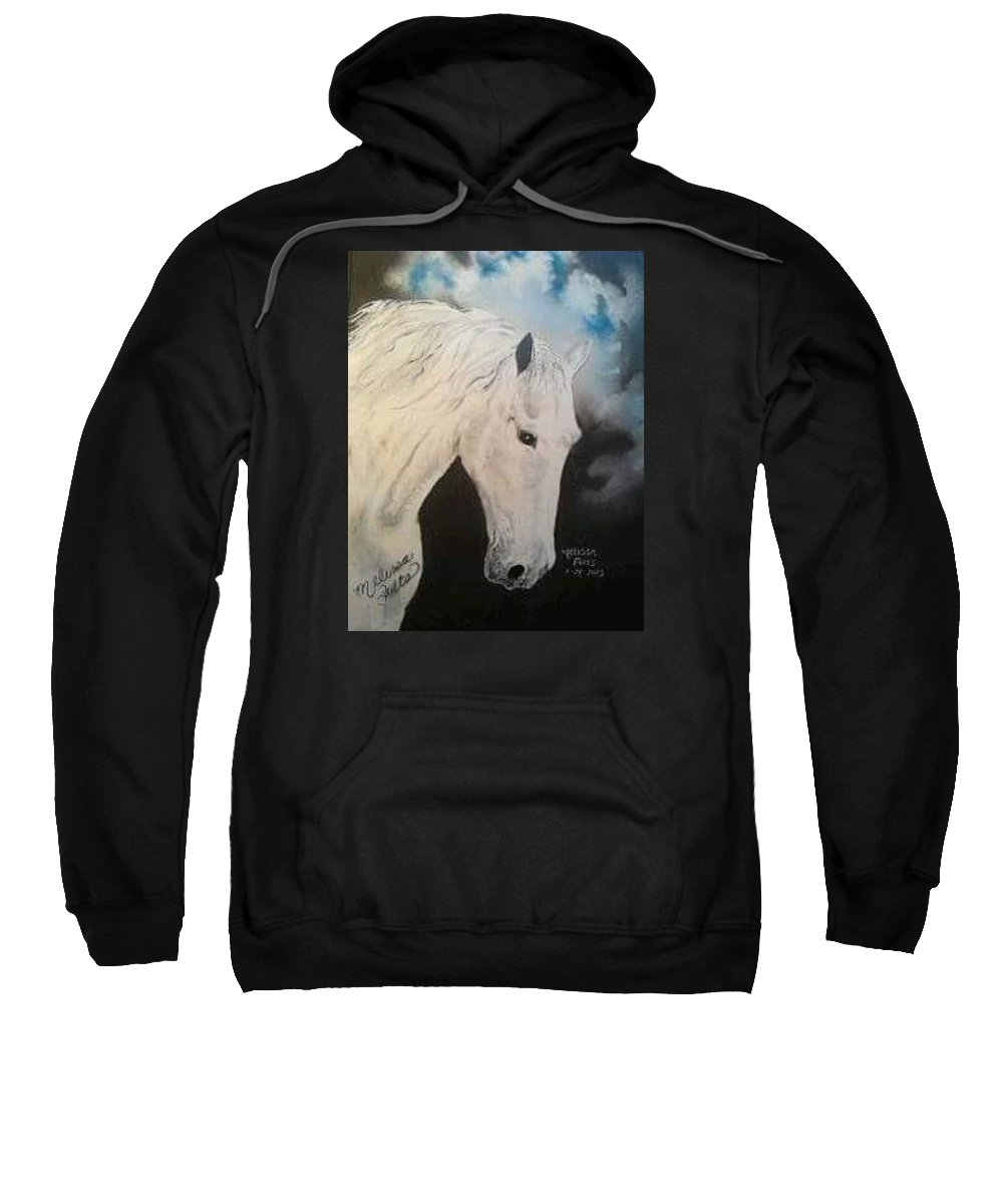 Horse Sweatshirt featuring the painting White Beauty by Melissa Young
