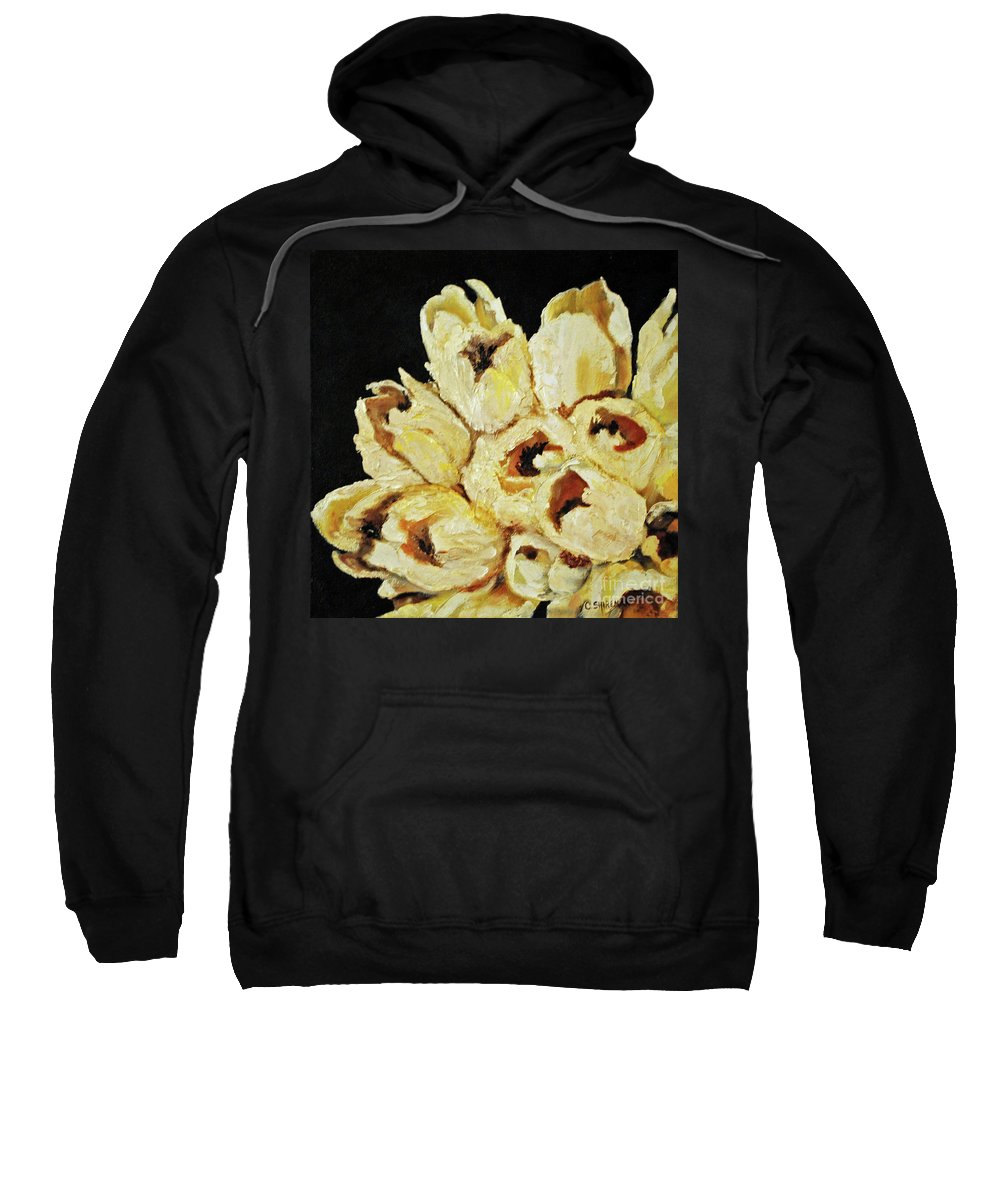 Floral Sweatshirt featuring the painting White Bouquet by Carolyn Shireman