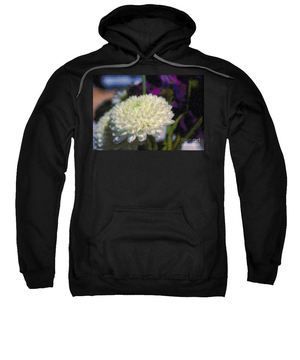 White Chrysanthemum Flower Beautiful Mum Sweatshirt featuring the photograph White Chrysanthemum Flower by David Zanzinger