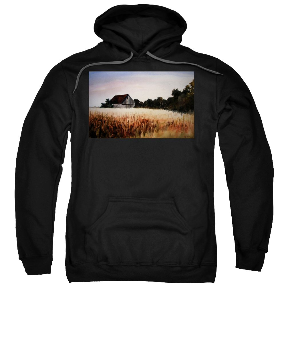 Landscape Sweatshirt featuring the painting White For Harvest by Rachel Christine Nowicki