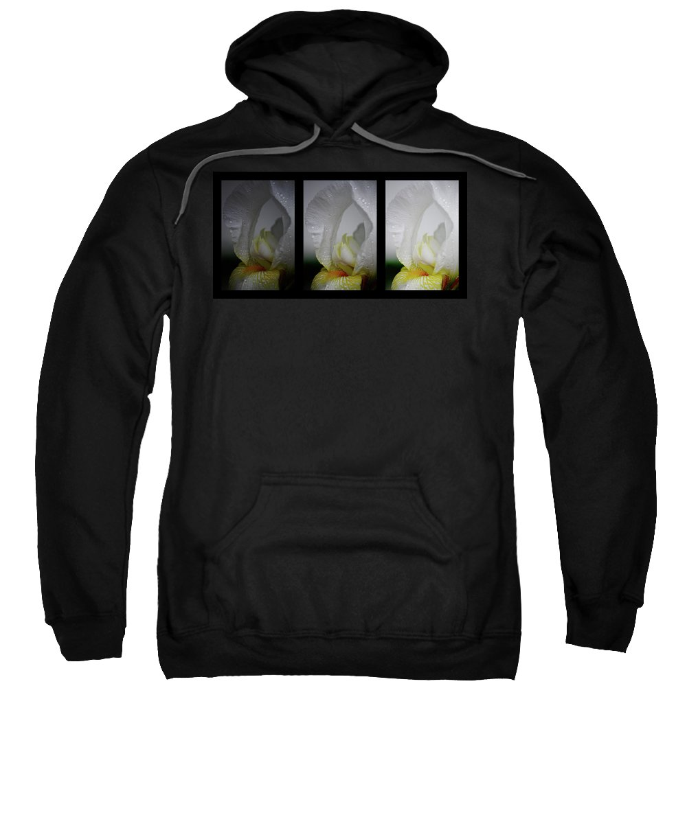 Iris Sweatshirt featuring the photograph White Iris Study Triptych by Teresa Mucha