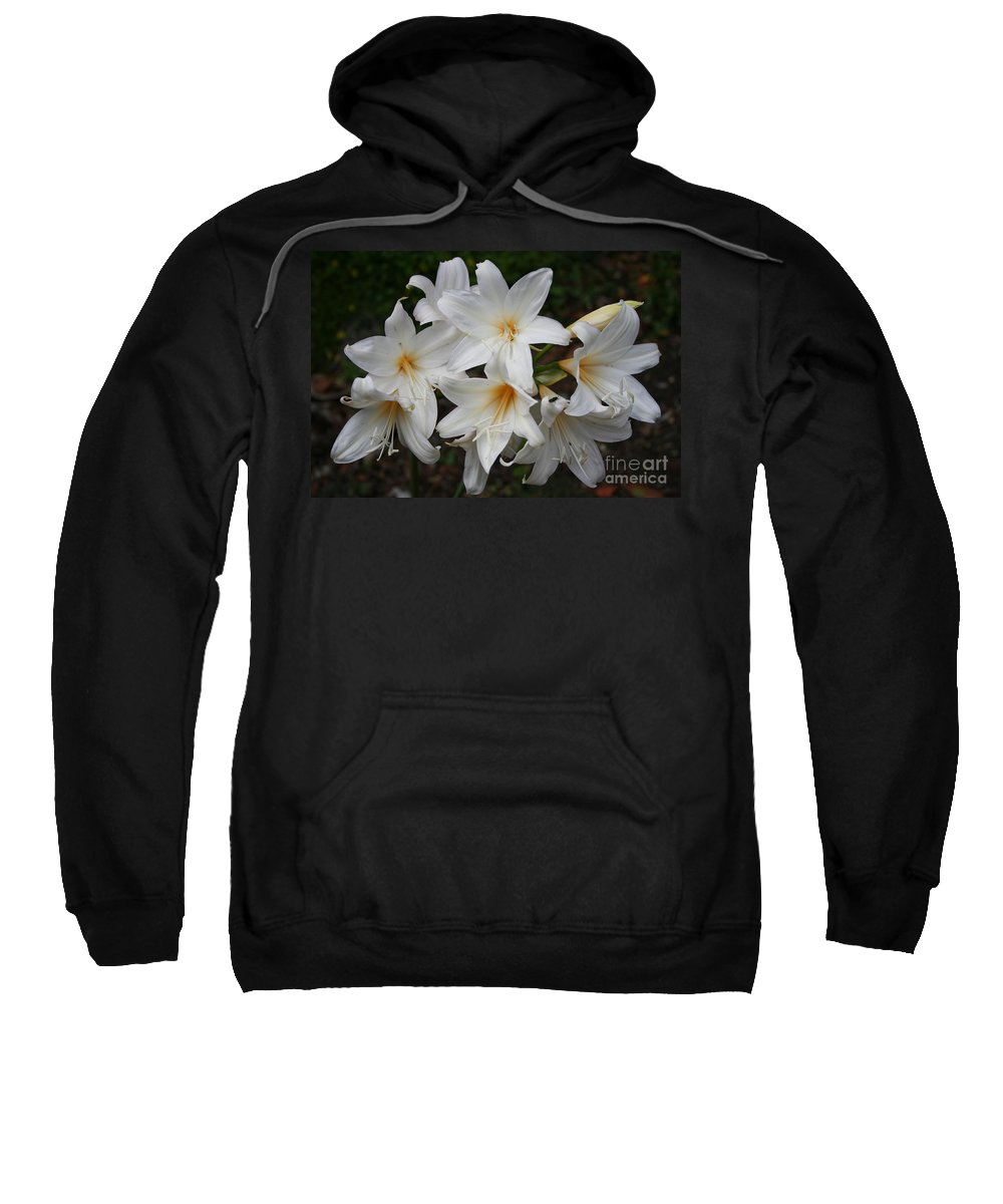 Lillies Sweatshirt featuring the photograph White Lilies by Christiane Schulze Art And Photography