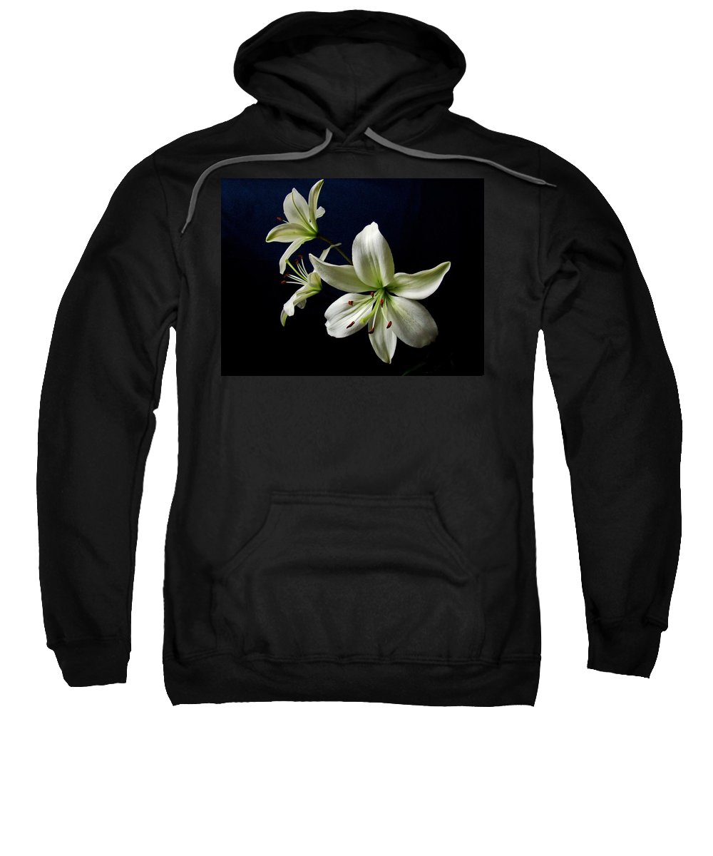 White Lilies Sweatshirt featuring the photograph White Lilies On Blue by Sandy Keeton