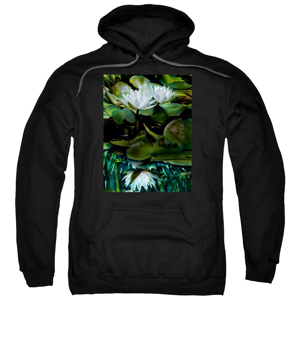 Water Lilies Sweatshirt featuring the photograph White Lilies, White Reflection by Paula Ponath