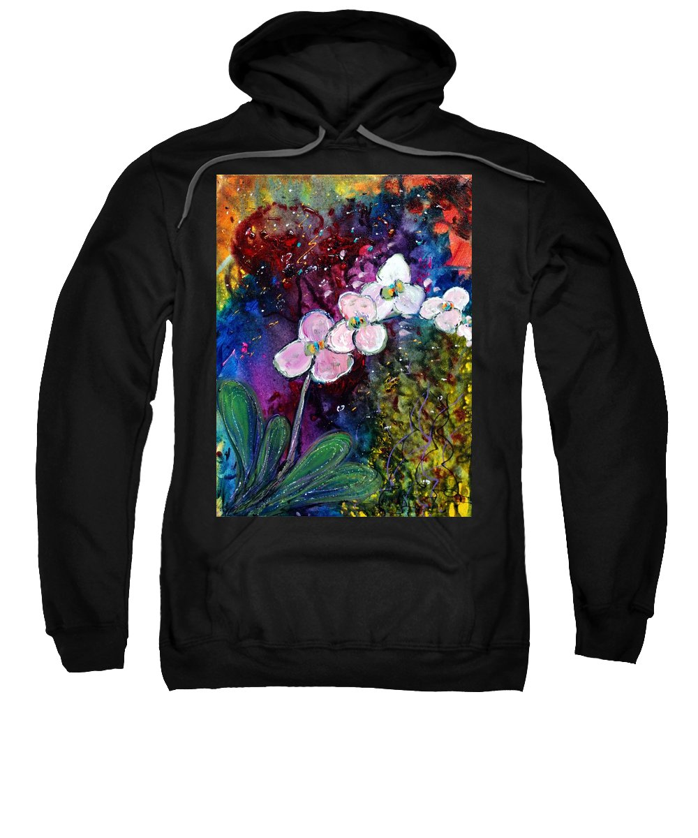 Flowers Sweatshirt featuring the painting White Orchid by Luiza Vizoli