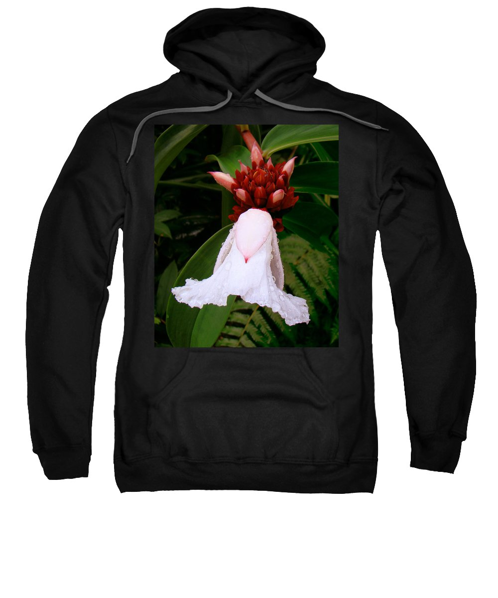 White Flower Sweatshirt featuring the photograph White Rainforest Flower by Merja Waters