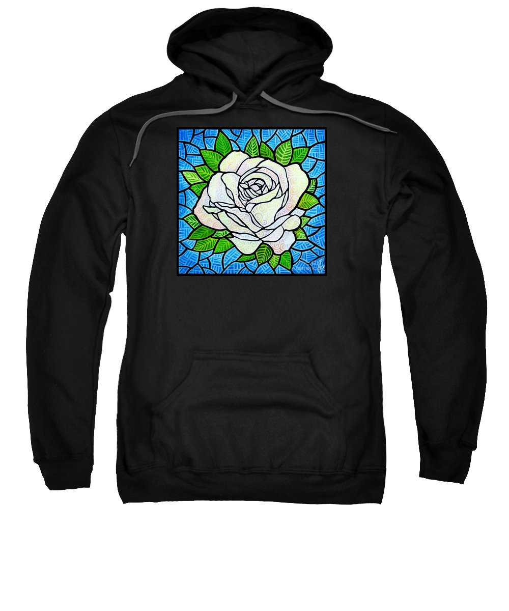White Sweatshirt featuring the painting White Rose by Jim Harris