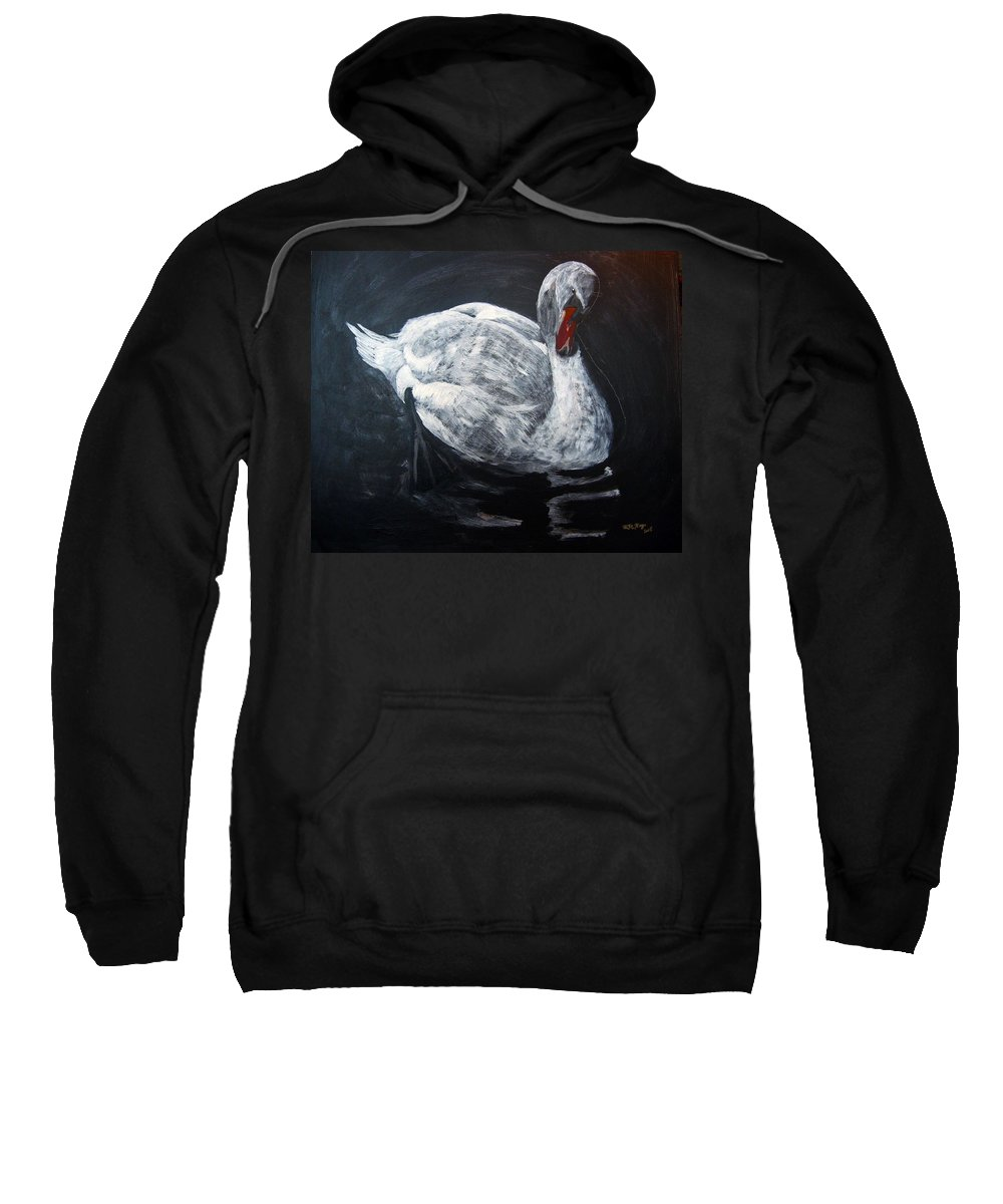 Swan Sweatshirt featuring the painting White Swan by Richard Le Page