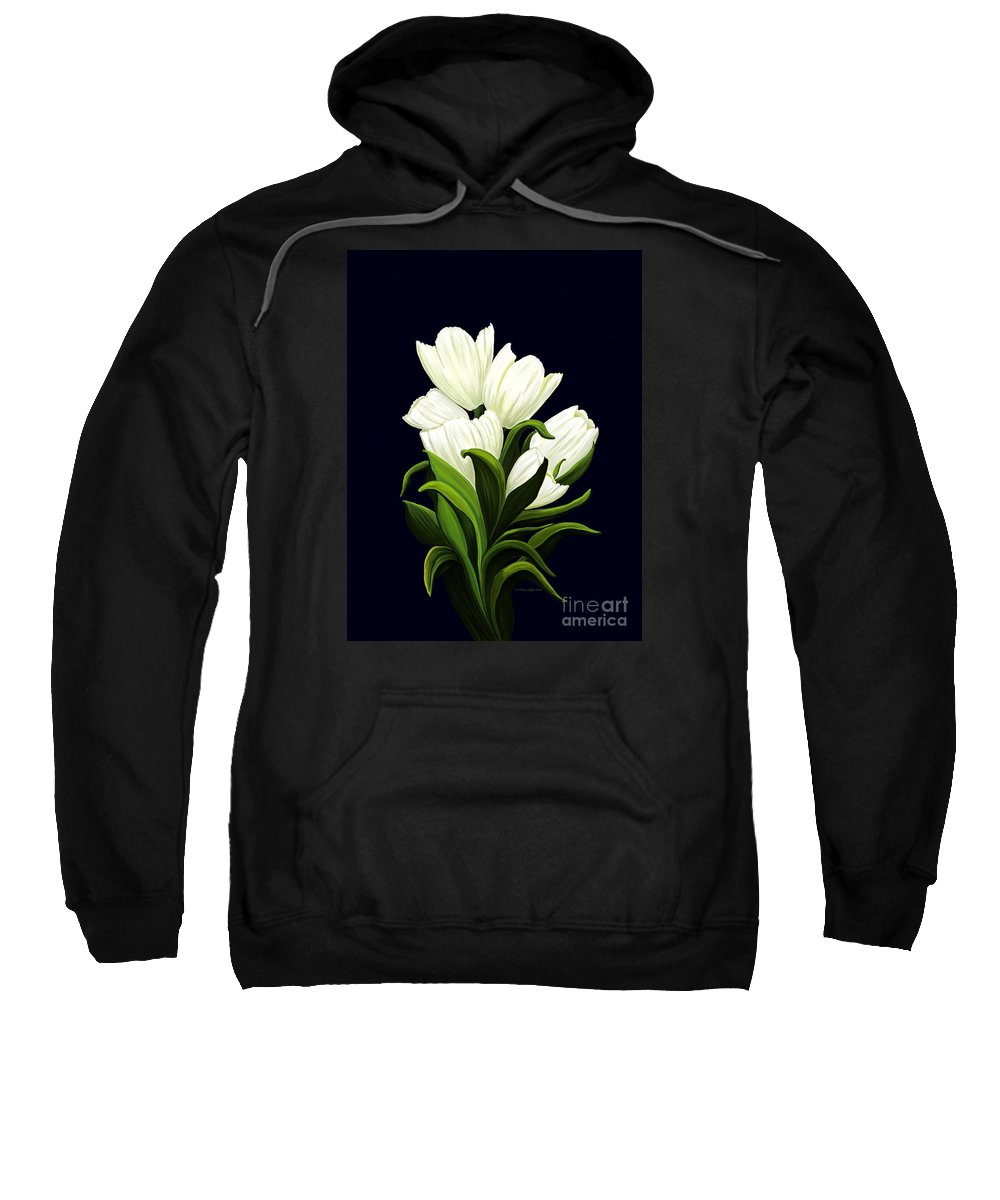 Mixed Media Sweatshirt featuring the painting White Tulips by Patricia Griffin Brett