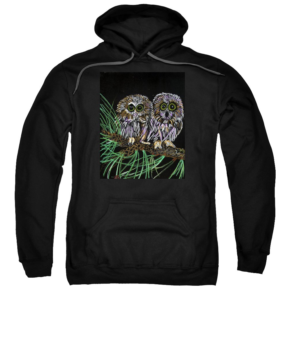 Owls Sweatshirt featuring the painting Whos Whoo by Arlene Wright-Correll