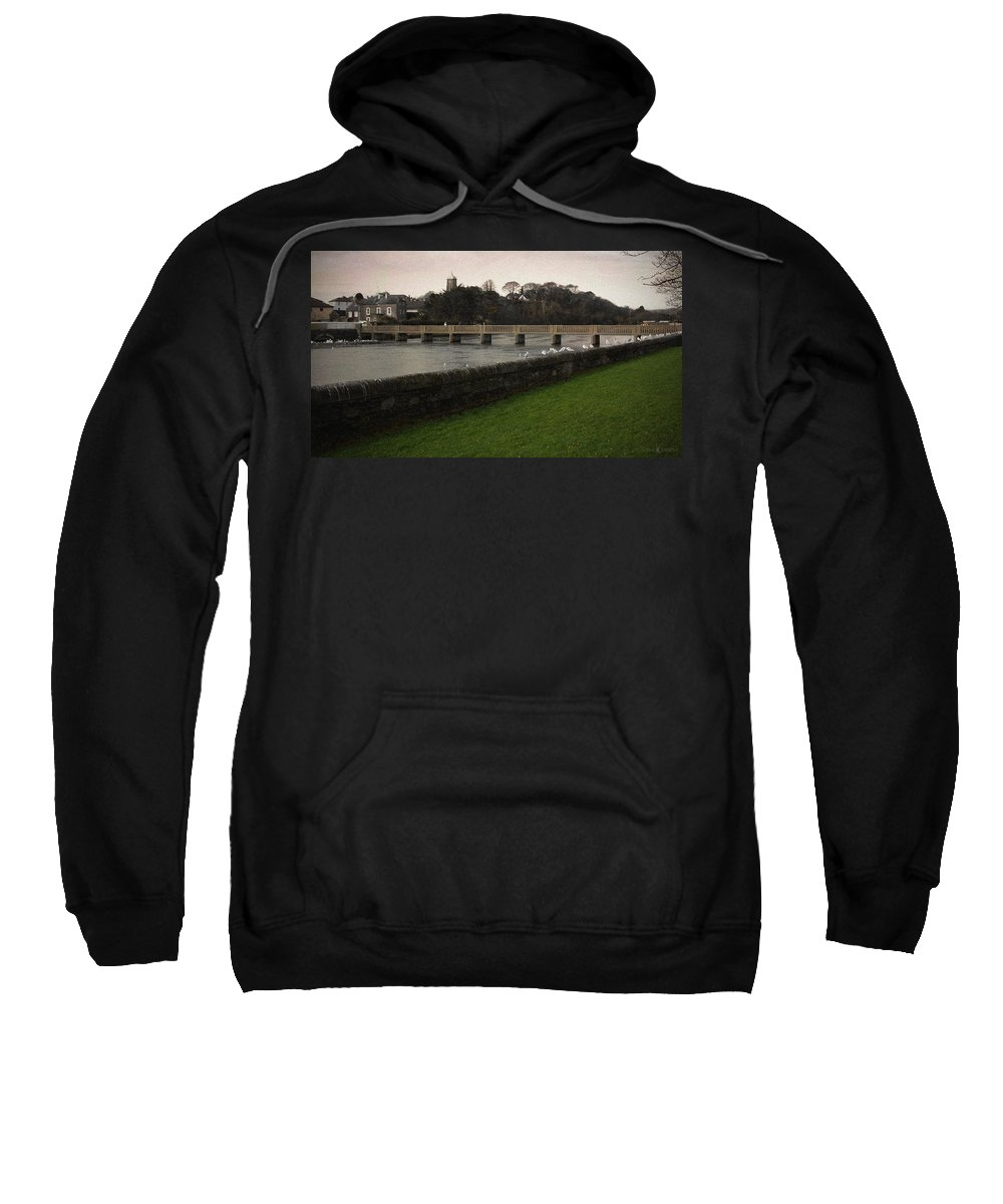 Footbridge Sweatshirt featuring the photograph Wicklow Footbridge by Tim Nyberg