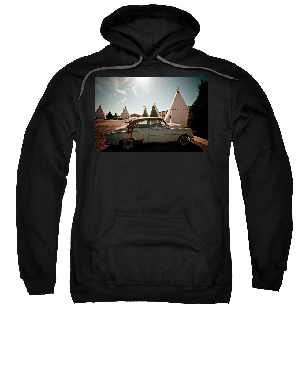 66 Sweatshirt featuring the photograph Wigwam Motel Classic Car #8 by Robert J Caputo