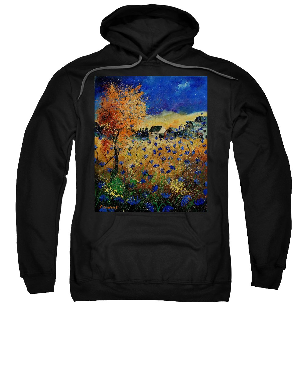 Flowers Sweatshirt featuring the painting Wild Chicorees 56 by Pol Ledent
