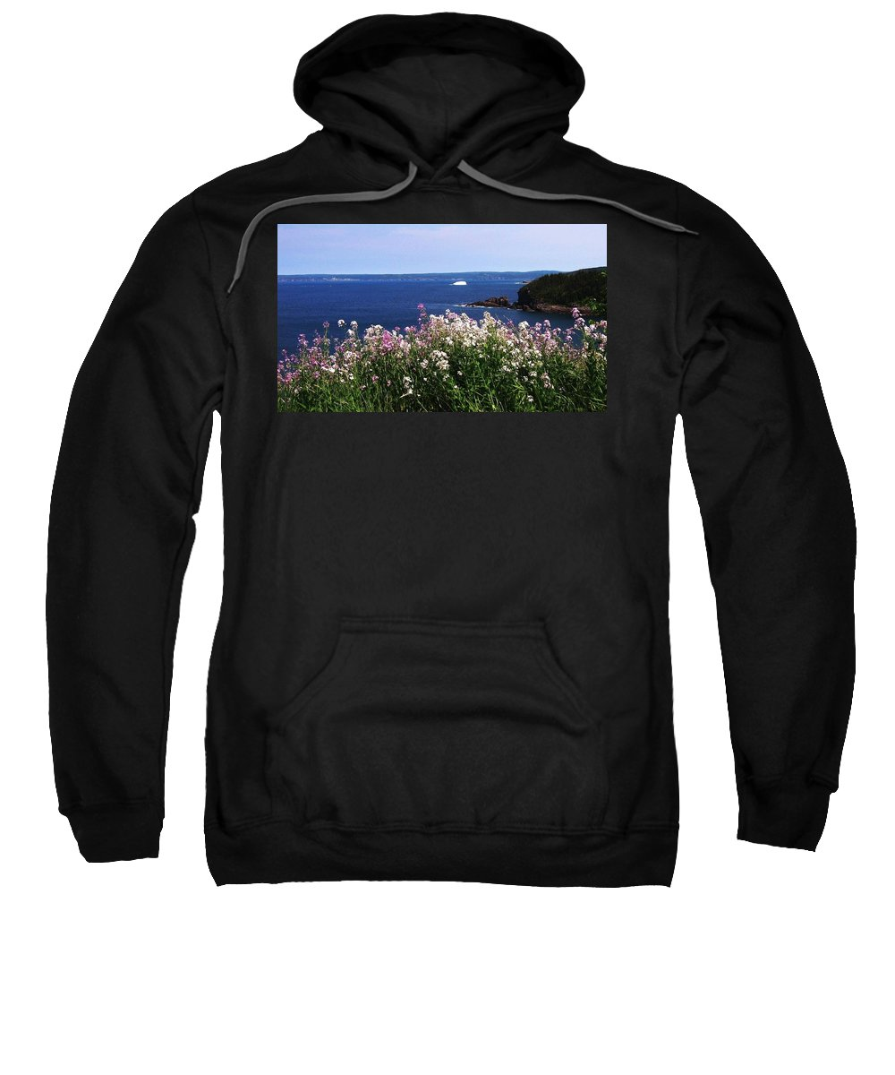 Photograph Iceberg Wild Flower Atlantic Ocean Newfoundland Sweatshirt featuring the photograph Wild Flowers And Iceberg by Seon-Jeong Kim