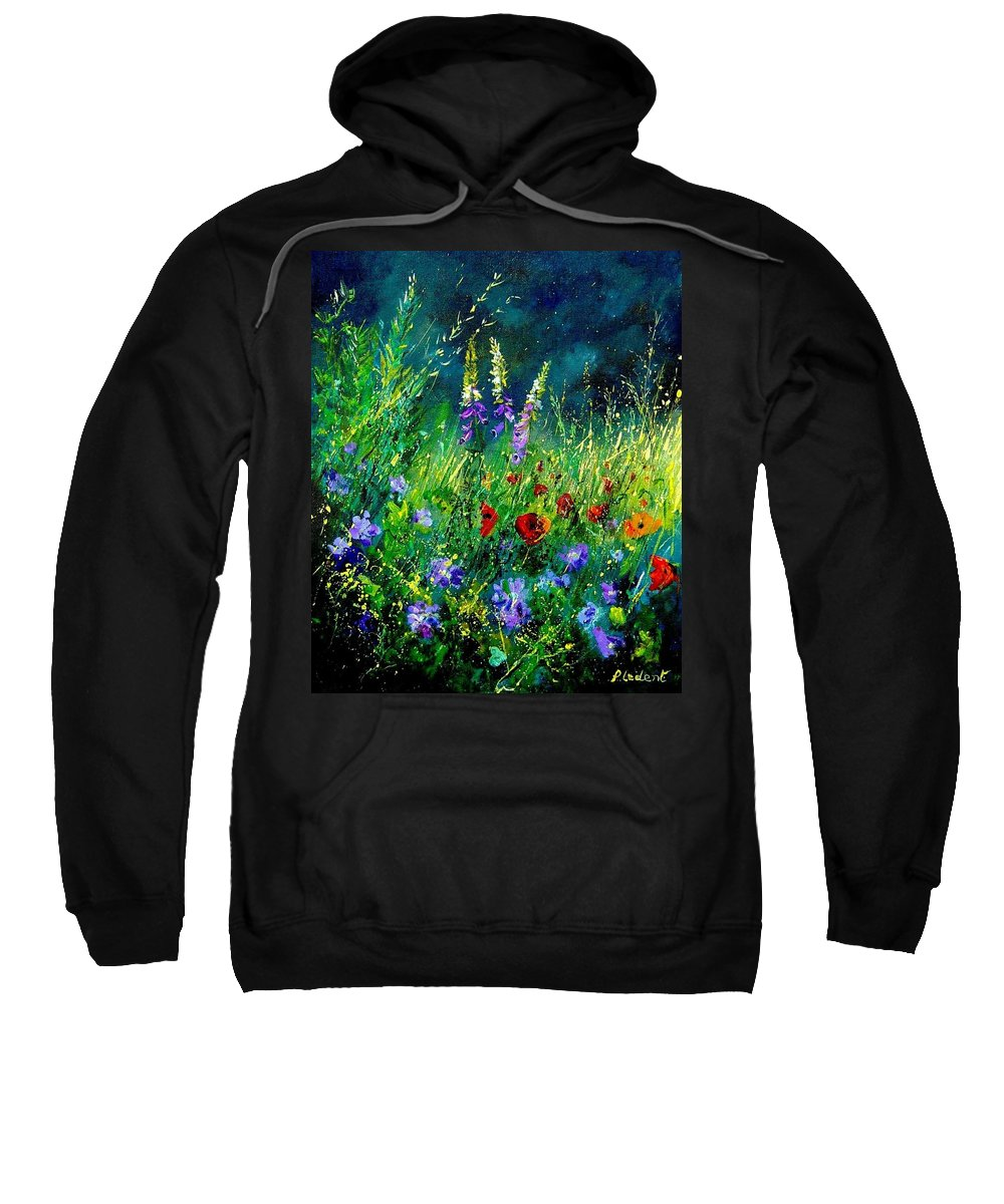 Poppies Sweatshirt featuring the painting Wild Flowers by Pol Ledent