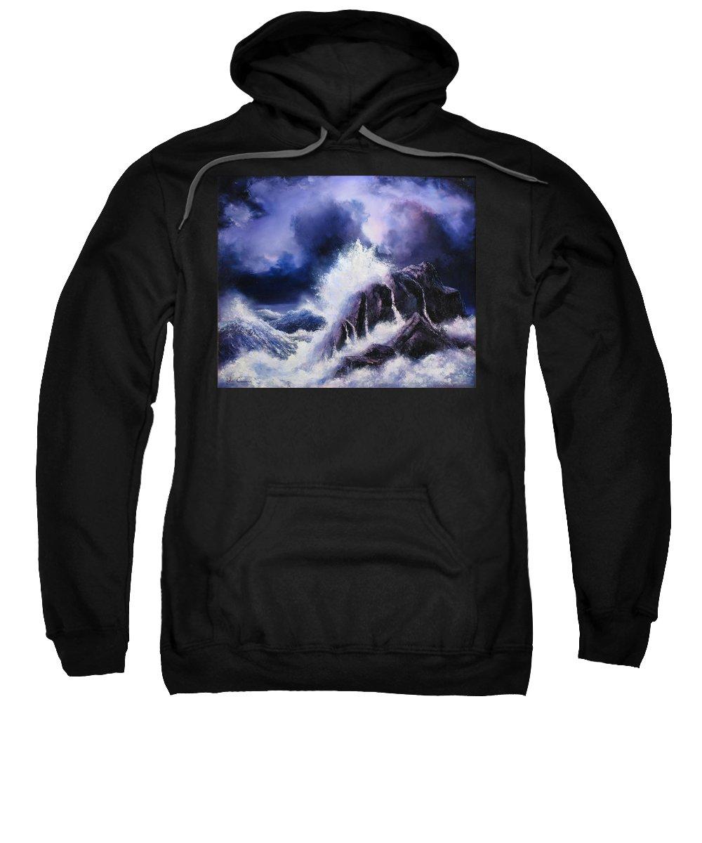 Seascape Sweatshirt featuring the painting Wild Sea by John Cocoris