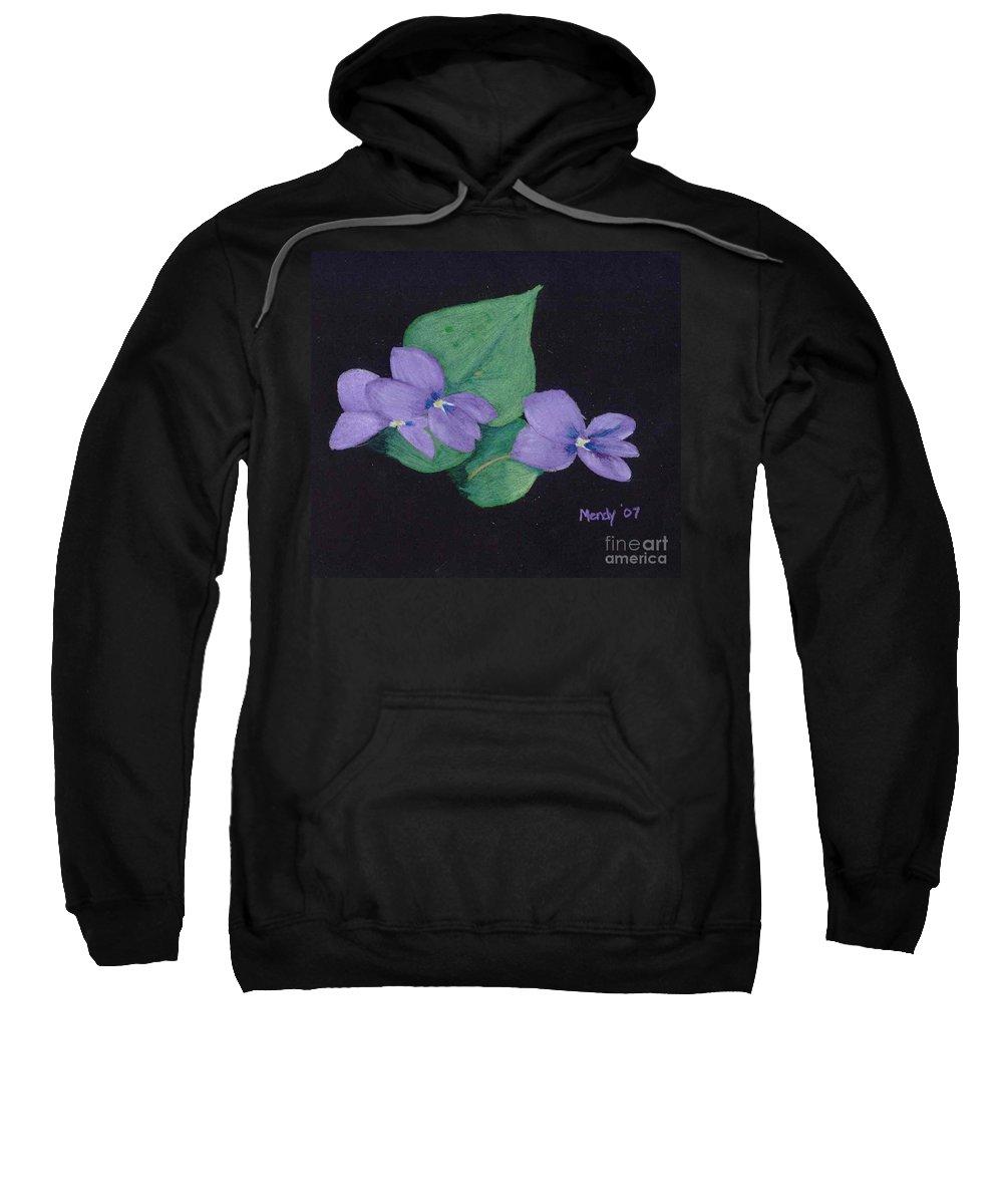 Violets Sweatshirt featuring the pastel Wild Violets by Mendy Pedersen
