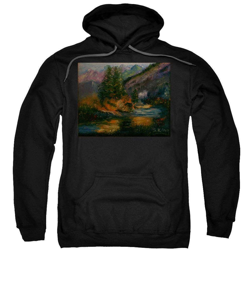 Landscape Sweatshirt featuring the painting Wilderness Stream by Stephen King