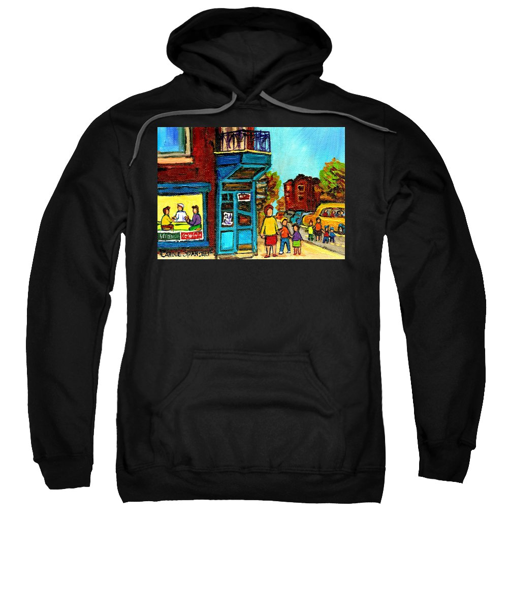 Montreal Sweatshirt featuring the painting Wilensky's Counter With School Bus Montreal Street Scene by Carole Spandau