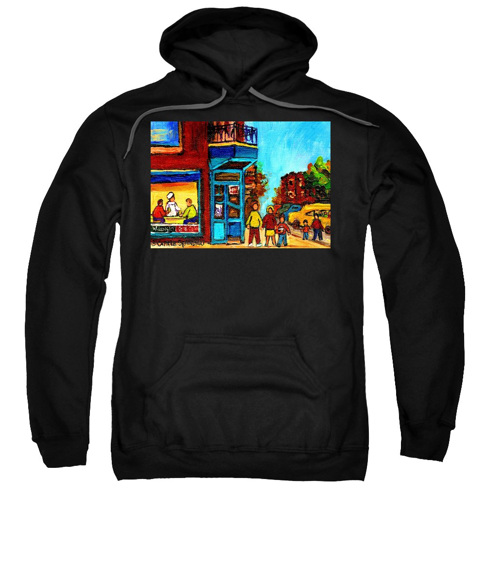 Montreal Sweatshirt featuring the painting Wilensky's Lunch Counter With School Bus Montreal Street Scene by Carole Spandau