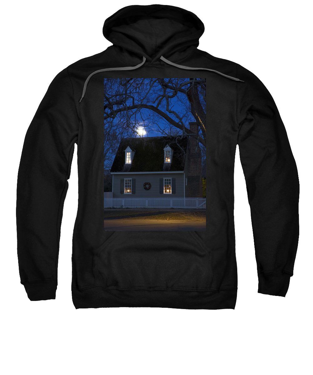 Colonial House Sweatshirt featuring the photograph Williamsburg House In Moonlight by Sally Weigand