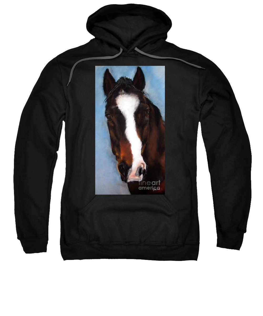 Horse Painting Sweatshirt featuring the painting Willie Duke by Frances Marino