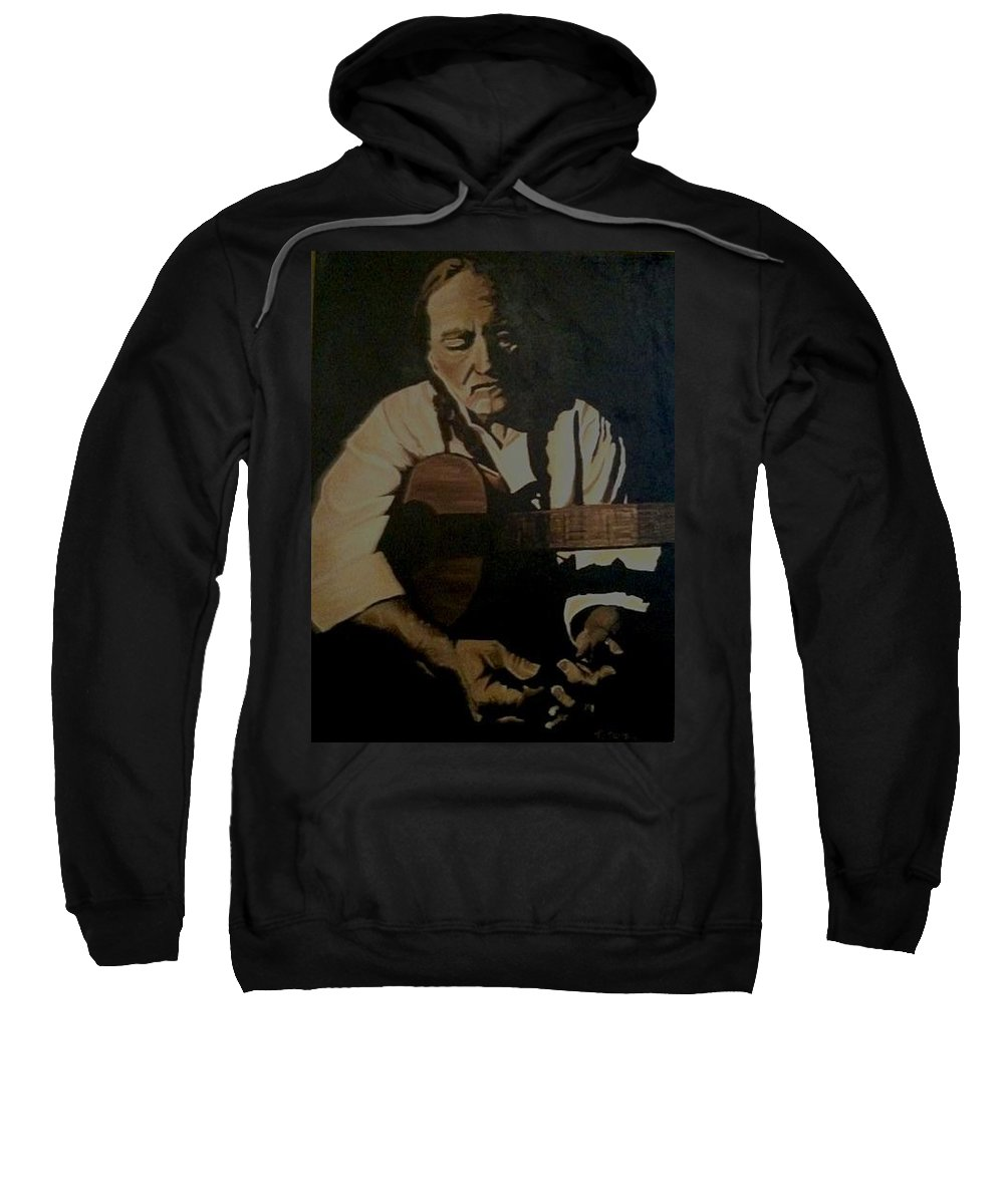 Willie Sweatshirt featuring the painting Willie Nelson by Ashley Lane