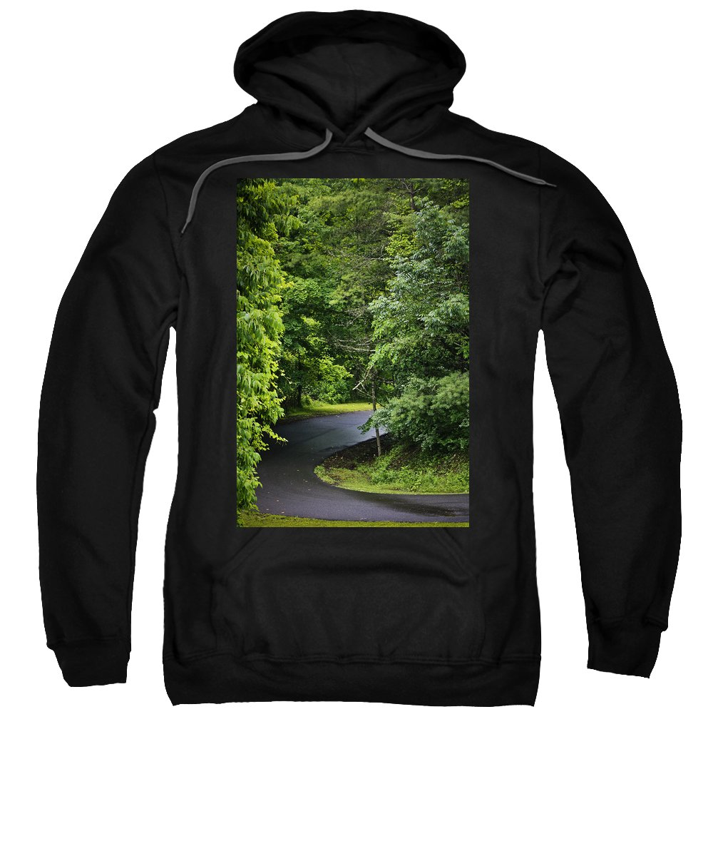 Rain Sweatshirt featuring the photograph Winding Road Bluestone State Park West Virginia by Teresa Mucha